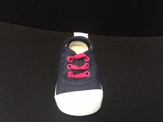 Skidders Footwear denim colored fabric with pink rivets and laces