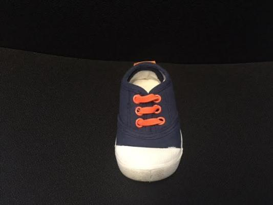 Skidders Footwear navy blue fabric with orange rivets and laces