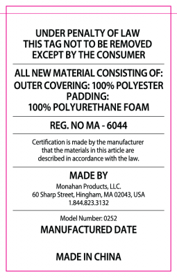 The law label on the recalled RumbleSeat