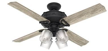 "Hunter fan 54185 Brunswick 52"" with 4 lights in black (natural iron) housing"