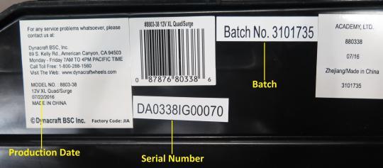 Surge 12V XL Quad model number, date code,, batch and serial number