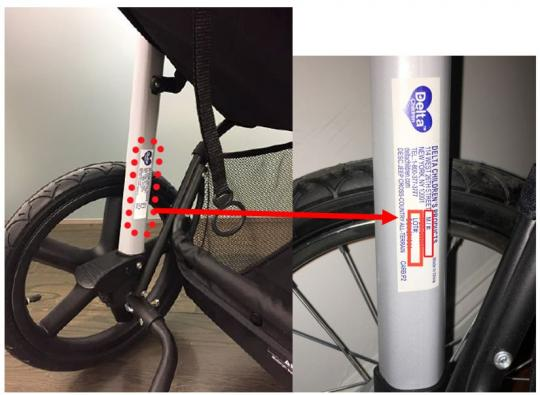 Delta label located in the left bottom frame support bars