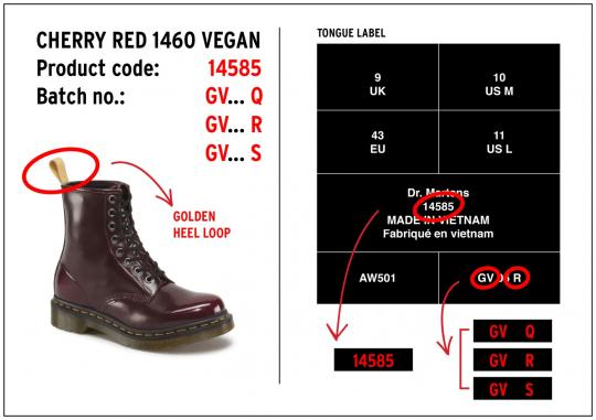 Labels on Dr. Martens Vegan 1460 boots sold in cherry red