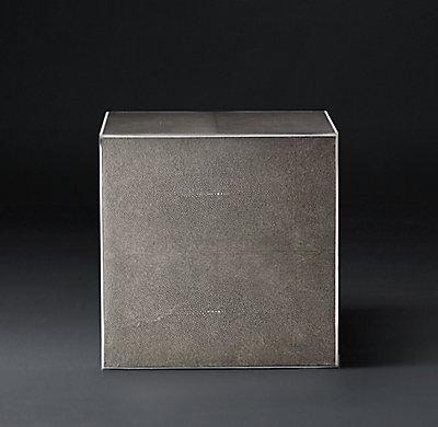Smythson Shagreen side table smoke and steel
