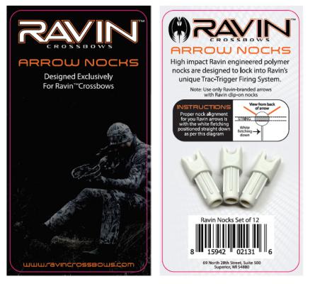 Recalled arrow nocks with packaging