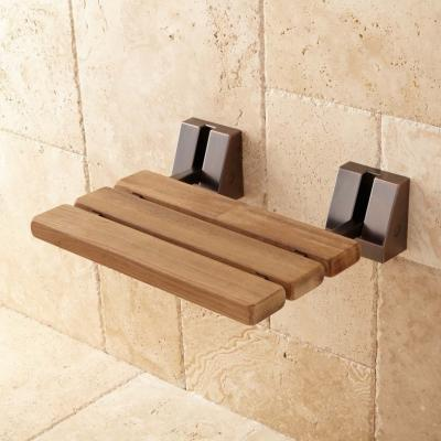 Recalled mounted wall seat with oil-rubbed bronze finish