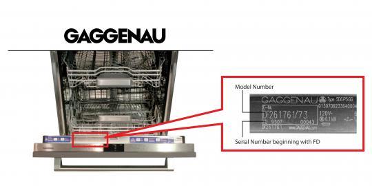 Gaggenau dishwasher model and serial number location