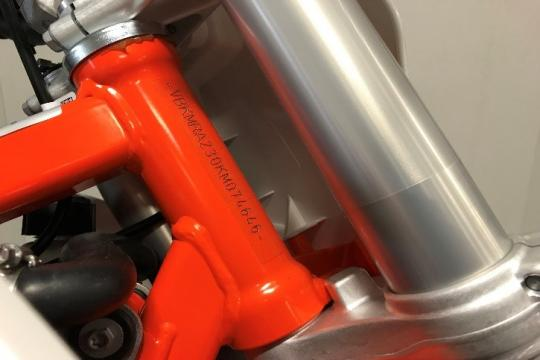 VIN location on the recalled 2019 KTM 50 SX motorcycle.