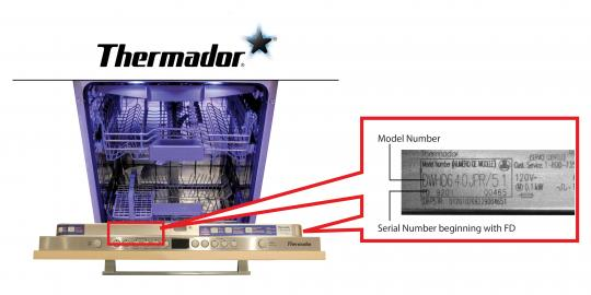 Thermador dishwasher model and serial number location
