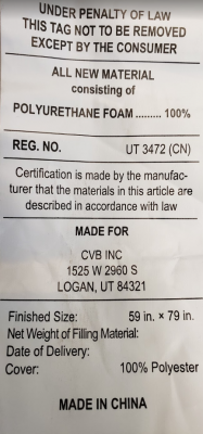 Federal tag located on the underside of the head panel of the mattress.