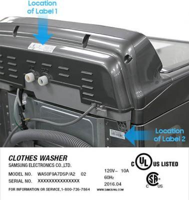 Samsung Washing Machine Identification Label