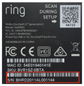 The model and serial number are printed on a label on the back of the doorbell.