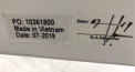 Label with PO Number and Manufacturing Date