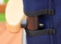 Lock nut that connects the arm rest to the chair