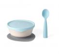 "Recalled Miniware ""First Bites"" set with teething spoon in aqua"