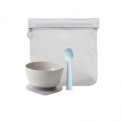 """Recalled Miniware """"First Bites"""" travel set with teething spoon in aqua"""