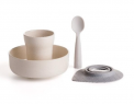 "Recalled Miniware ""Sip + Snack"" travel set with teething spoon in grey"