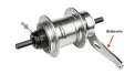 Location of brake arm on recalled SRAM i-Motion 3 hub