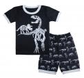 Recalled Tkala Fashion children's pajamas – short sleeves, black and white dinosaur print