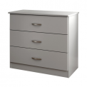 Libra style 3-drawer chest in soft gray
