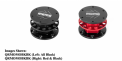 """Recalled quick release steering wheel adaptors in black and black-with-red with """"MOMO"""" printed on top."""