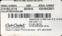 Cub Cadet 2016 Challenger Utility Vehicle label located under the driver's seat.
