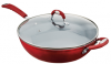 Recalled red Kitchen & Table 5.5 qt. Sauté Pan with glass lid.