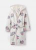 205705-CRMSTPFLRL White robe with floral print  100% polyester  XS, S, M, L