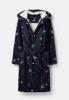 205682-NVYROCKETS Navy blue robe with space rocket print  100% polyester  XS, S, M, L