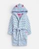 203155-WHTBLUSTRP White and light blue striped robe  100% polyester XS, S, M, L