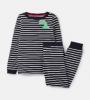 205681-NVCRMPKTDN Navy and white striped pajama with dinosaur motif  96% cotton 4% elastane 1 through 12
