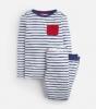 Z_ODRKIPWLL-CREMBLUSTP Blue and white striped pajama with red pocket  97% cotton 3% elastane 1 through 12