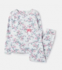 204649-BLUCREMDTS White pajama with floral print  96% cotton 4% elastane 1 through 12