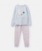 204649-BLUMOONBAK Blue and pink pajama with moon print  96% cotton 4% elastane 1 through 12