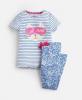 203150-BLUSTPCATN Blue and white striped pajama with cat image  97% cotton 3% elastane  1 through 12