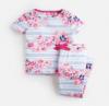 203150-BLUSTRFLRL Blue and white striped pajama with floral print  97% cotton 3% elastane 1 through 12